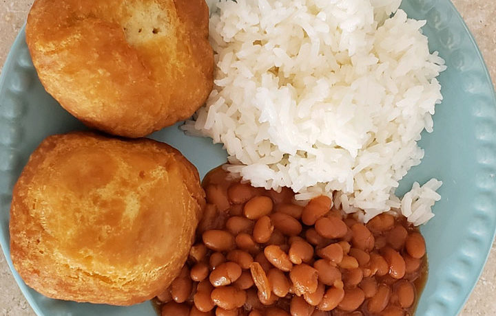 fry bake with rice and beans